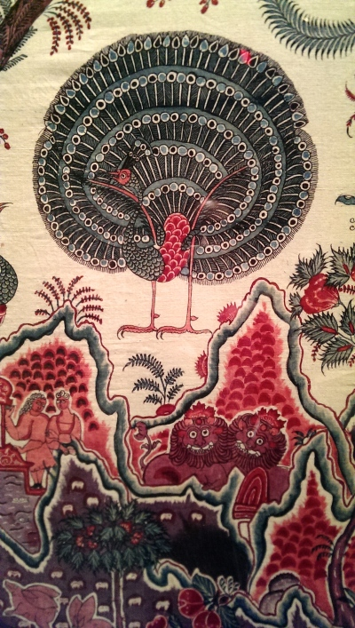 one of many pairs of animals on a bedspread made in India around 1765 for the European market.  It made its way somehow to the US where it is thought it might have been a wedding gift to Philip Van Rensselaer and his bride Maria in 1768.
