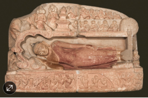 Scene of Buddha's death carved in sandstone around 1198 .