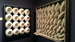 Shadow boxes with pinch pots by John Pagliaro.