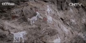 A screen shot showing animals silhouetted in white pigment on a rock face in Malawi.