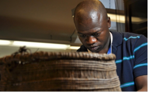 Moses Mkumpha studying and cleaning a basket from Botswana as part of his training at the Comservation Center of New York University's Institute of Fine Arts.