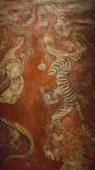 detail from a lacquer fan painted in 1st C BC