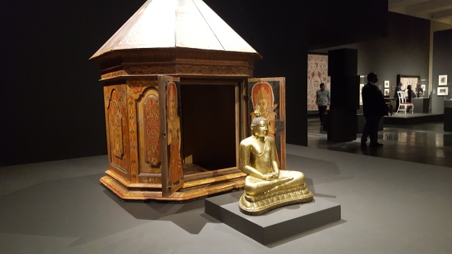 18th-C seated Buddha (LACMA) before 19th-C shrine (Phoenix Art Museum)