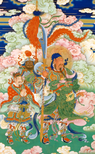 floating among pastel-colored close, three brightly dressed figures stand guard. The largest is haloed and holds a standard from which waves an orange dragon tail shaped pendant.