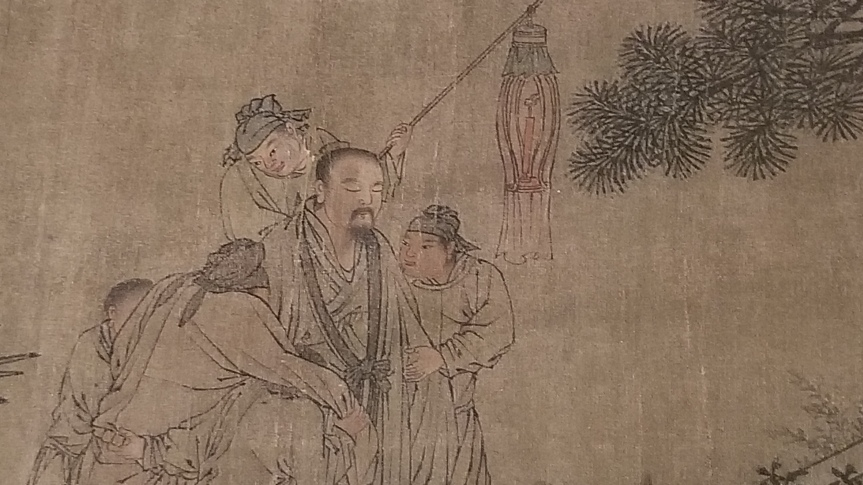 the detail is the first scene in the handscroll, showing two scholars being helped by servants as they make their way down the garden path. Two servants hold up one of the scholars who seems unable to walk. The other scholar appears asleep standing up; one servant steers him while another literally has his back and holds a lantern aloft.